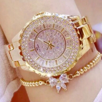 Diamond look BS watch and bracelet gold