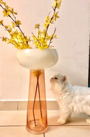 Used Glass Vase with yellow flowers  in Dubai, UAE