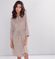Midi dress with 3/4 sleeves and tie ups