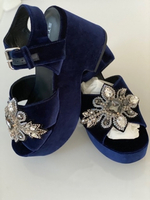 Used NEW Sandals STRATEGIA blue velvet 40 in Dubai, UAE