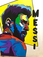 Used Canvas art hand made Messi decoration  in Dubai, UAE