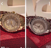 2 Diamond look watches gold & silver