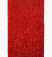 "NEW Soft Fluffy Red Rug 25x50"" approx."
