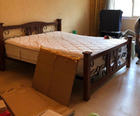 Used Solid timber and wrought iron king  bed in Dubai, UAE