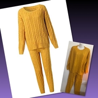 Used Yellow Knitted Sweater and Pants/ 3XL in Dubai, UAE