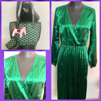 Used Emerald Green Plated Dress/ Small Bag in Dubai, UAE