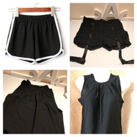 Used 2 shorts size L/XL & black top size S in Dubai, UAE