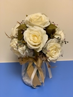 Used Artificial white rose with glass vase  in Dubai, UAE