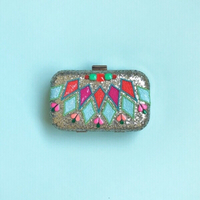 Used Colorful Glitter and Beads Clutch  in Dubai, UAE