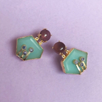 Gold Tone Accessory Statement Earrings