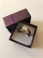 Solitaire Styled Ring/ silver&gold/ 20