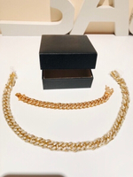 Used Necklace & bracelet Cuban set but read! in Dubai, UAE