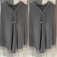 Used Hooded Knitted Poncho with Pom Poms in Dubai, UAE