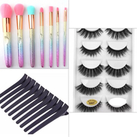 Used Set rainbow brushes+eyelashes+hair clips in Dubai, UAE