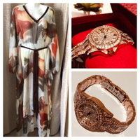 Used Chiffon Dress & watch BS Roségold  in Dubai, UAE