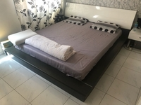 Used King size bed with mattress +night stand in Dubai, UAE