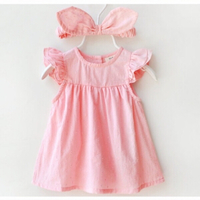 Used Baby romper dress+hair band pink 10/12m in Dubai, UAE