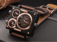 Used Oulm Brown Fabric Strap Watch in Dubai, UAE