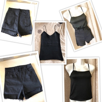 Used Tops 2 size S & 1 black shorts size S in Dubai, UAE