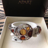 """Amber """"APART"""" Bracelet And Dragonfly brooch"""