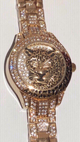 Bee sister tiger inspired gold watch