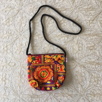 Colorful embroidery crossbody bag
