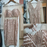 Used Gold color dress with mesh sleeves in Dubai, UAE