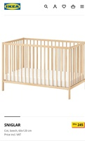 Used Ikea baby cot with mattress in Dubai, UAE