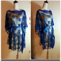 Blue shiny loose top for women