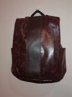 Anti-theft leather backpack brown unisex