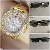 B S golden ladies watch + glasses