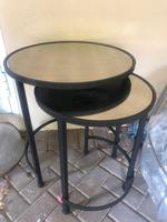 Used Pair of small brass tables, mirror top in Dubai, UAE