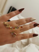 Used Gold plated Swarovski stones double ring in Dubai, UAE