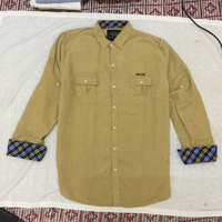 Dual pocket beige corduroy Shirt for men
