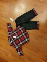 Used Baby boy set of 2 red/ jeans in Dubai, UAE