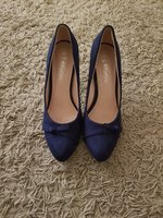 Used Blue velvet bow style shoes in Dubai, UAE