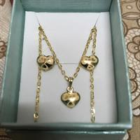 Set Heart Necklace/pendant/earring#18k Real Gold#brandnew##1.73 Grms#serious Buyer Only