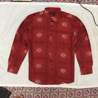 Bloody red flowers cotton shirt for men