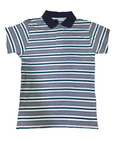 Used Polo Tshirt - Silver blue strips in Dubai, UAE