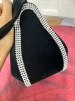 Used BrandNew black velvet clutch with shoes in Dubai, UAE