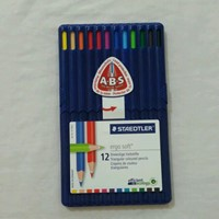 Used Steadtler Ergosoft Colored Pencil in Stand-up Easel Case, Multicolor set of 12 in Dubai, UAE