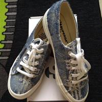 Superga X The Man Repeller Blue Tweed Shoes. Size EU 37. Brand New Still In Box With Tags.