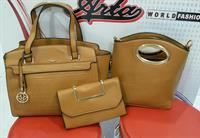 珞 3-PIECES Designer Handbag    Set For Ladies