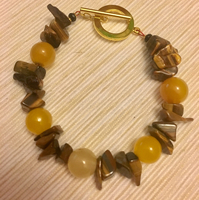 Yellow Jade and yellow Tiger Eye Stone Combination