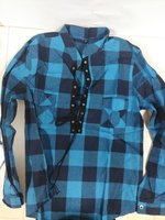 Blouse and Shirts, checkered Blue