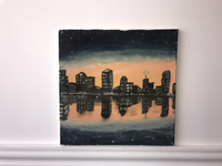 Oil painting of the city at night