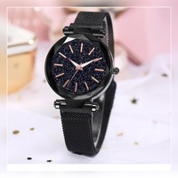 New black magnatic strap ladies watch