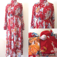 Brand New Tailor made Red Long Sleeve Chiffon Dress. Free Size.