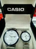 White Dials/ Silver Color Casio Couple Watch