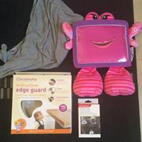 Bundle Of Baby Items - Diono Travel Boyle Warmer (New Still In Box), Clevamama Multipurpose Edge Guard (baby Proofing) Used About 2.5-3metre Length Left. Wise Pet iPad Protector For Kids. Mothercare Nursing Blanket.
